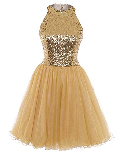 Homecoming Dress Cocktail Dresses Short Sequin Halter Open Back Evening Party Dress A line Gold US28W