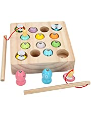 TOYANDONA Magnetic Fishing Game Wood Magnetic Toys Fish Catching Counting Montessori Educational Games Fine Motor Skill Toys for Kids Toddlers Children