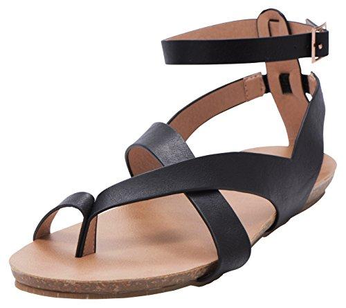 Cambridge Utvalgte Kvinner Krysser Thong Spent Ankelen Strappy Flat Sandal Svart Pu