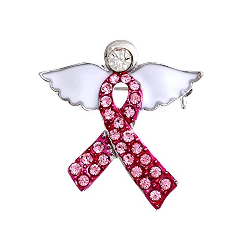 Rosemarie Collections Women's Pink Ribbon Rhinestone Angel Lapel Pin Brooch -