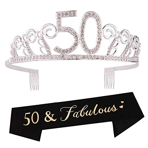 50th Birthday Tiara and Sash 50th Birthday Crown and Sash Tiara and Sash For 50th Birthday Party Supplies(Silver Tiara+Black Sash)]()