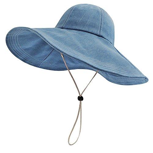 LETHMIK Womens Floppy Wide Brim Hat,Summer UV Protection Beach Sun Bucket Hat Foldable&Packable Cap Denim Blue -