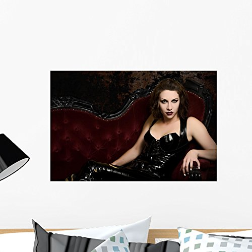 Wallmonkeys Beautiful Young Woman in Latex Catsuit Wall Decal Peel and Stick Graphic WM254610 (24 in W x 16 in H)]()