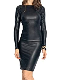 Domple Women Slim Round Neck Faux PU Leather Long Sleeve Pencil Dress