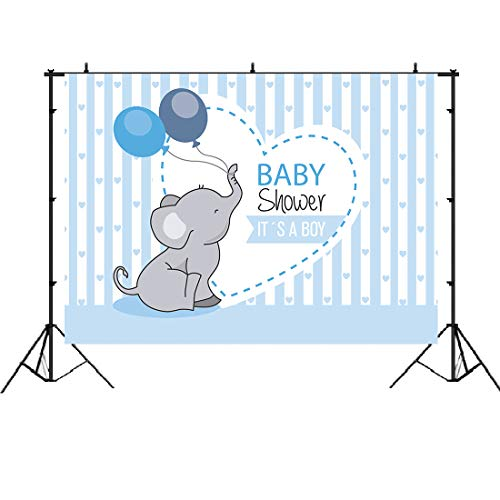 Cute Elephant Prince Boy Baby Shower Backdrop Blue Stripe Balloon Love Banner Studio Photography Props It's a Boy Newborn Party Theme Decorations 7x5ft -