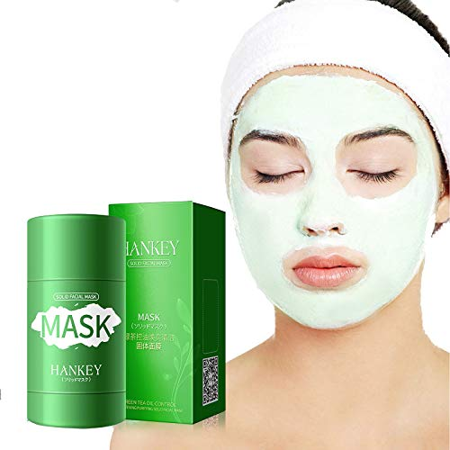 HXS Green Tea Purifying Clay Stick Ma_sk, Face Moisturizes Oil Control, Anti-Acne,Blackhead Remover, Deep Clean Pore, Improves Skin,for All Skin Types Men Women (1pcs,Green C)