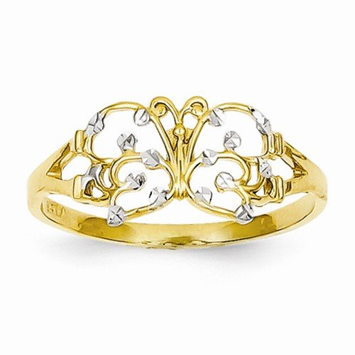 Diamond Ring Butterfly Cut (Size - 9 - Solid 14k Yellow & White Two Tone Gold Diamond Cut Butterfly Fashion Ring (1 to 9 mm))