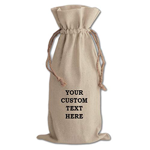 (Custom Text Personalized Lettering Cotton Canvas Wine Drawstring Bag Bottle Cove)