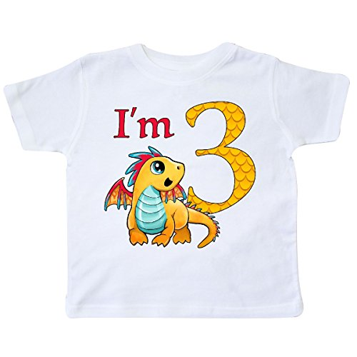inktastic Gold and Red Baby Dragon Third Birthday Toddler T-Shirt 3T (White Gold Dragon Shirt)