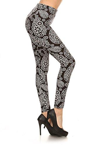 R649-OS Tinkering Paisleys Print Fashion Leggings