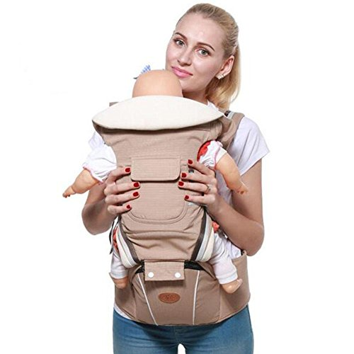 Seat Sling Strap Waist Stool Breathable Front-Style Rear Side Multifunction Toddler Best Safe Backpack Carriers , khaki , A (Baby Sling Khaki)