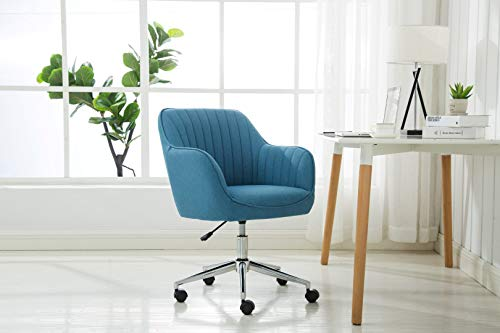 Porthos Home ZFC009A BLU Adjustable Height Contemporary Fabric Office Desk Chair with Arms and Optional Caster Wheels, Easy Assembly, One Size, Blue -