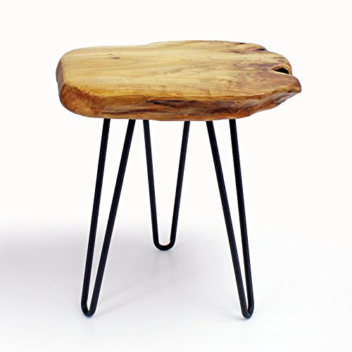 WELLAND Natural Edge Side Table, Live Edge Stool with Hairpin Legs, Wood Nightstand, Bedside Table, 15.5