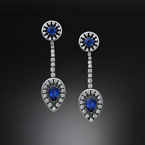 14K Gold Earrings with Blue Sapphires and Diamonds, Color Gems Collection, SF001E
