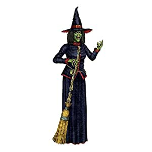 Club Pack of 12 Halloween Black and Red Jointed Witch with Broom 6.2'