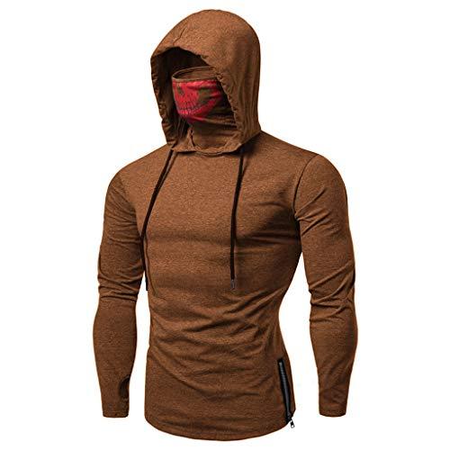(Realdo Mens Hoodie, Mens Skull Mask Pullover Casual Solid Zip Long Sleeve Hooded Sweatshirt Tops)