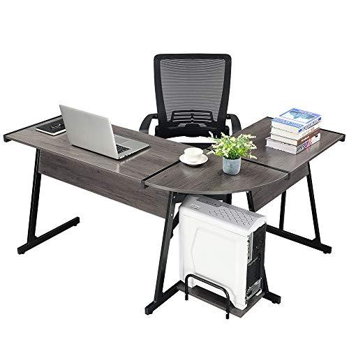 GreenForest Office Desk Corner L Shaped Workstation Laptop Table with Keyboard,Walnut by GreenForest (Image #1)