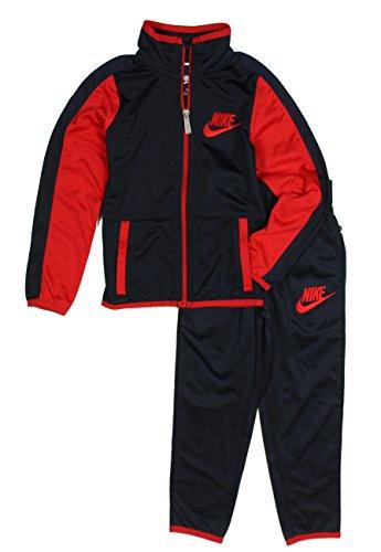 Nike Boys Jacket & Pants Track Suit Set Sweatsuit, Obsidian/Red (2T)