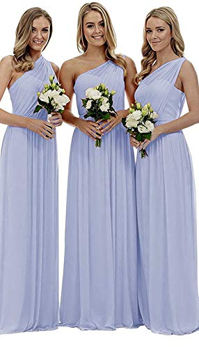Women's Periwinkle One Shoulder Wedding Bridesmaid Dresses Long Asymmetric Chiffon Formal Evening Dress]()