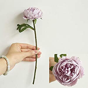vmree Simulation Flower, Single Artificial Peony Branch Lifelike Fake Floral Bouquet for Wedding Bridal Party Home Decor (Purple) 1