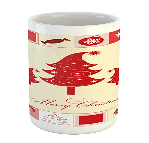 Ambesonne Christmas Mug, Merry Christmas Quote with Figures