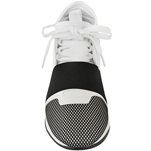 Blanco Detalle Negro Zapatillas Piel Sintética Elástica Cordones Mujer para con Banda Estilo y Deportivas Bali nTxnqA4O7