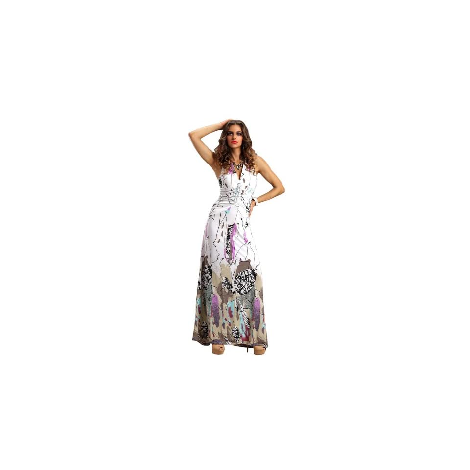 Amour Women's Ruched Floral Print Party Long Maxi Dress
