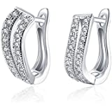 New 18K Yellow Gold Plated Korean Two Rows Cubic Zirconia Huggie Hoop Earrings