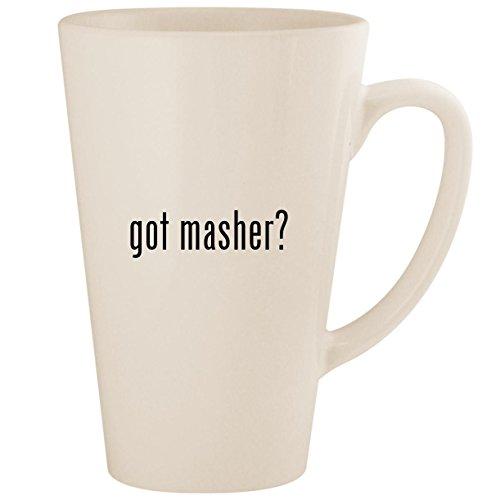 Masher Mashy Egg (got masher? - White 17oz Ceramic Latte Mug Cup)
