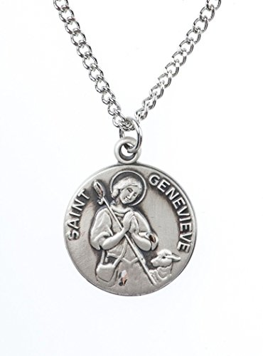 Sterling Silver Saint St Genevieve Dime Size Medal Pendant, 3/4 Inch - Genevieve Medal Pendant