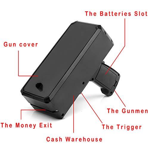 Wowok Black Money Gun with 10,000$ Fake Money, Super Money Guns Paper Playing Spary Money Gun Make it Rain Toy Gun Cash Gun for Game Party Supplies(Battery Included) by Wowok (Image #3)