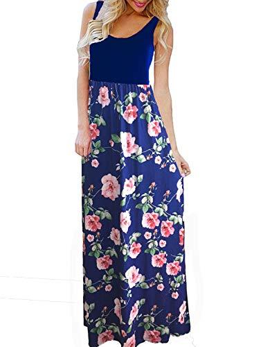 BLUETIME Women's Summer Boho Sleeveless Floral Print Tank Long Maxi Dress Blue Medium