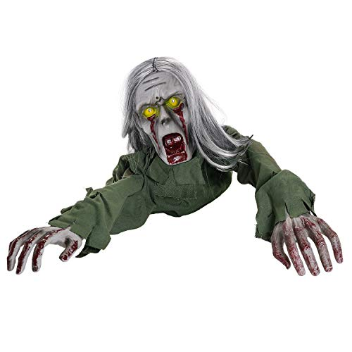 Halloween Haunters Animated Crawling Zombie Ghost Torso Groundbreaker with Moving Body LED Eyes Prop Decoration - 2/3 Life-Size, Scary Screaming Bloody Face - Haunted House Graveyard Tombstone -
