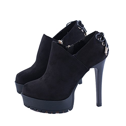Spesso Impermeabile Papillon black Shoes Fondo A Americani Scarpe Semplici Spillo Heeled High E Scarpe Di KHSKX Europei Camoscio Tacchi 6UwO7qPO