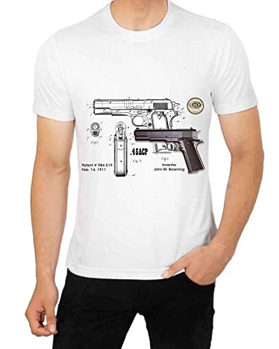 Colt 45 Caliber Diagram Patent 1911 By John Browning T Shirt Art