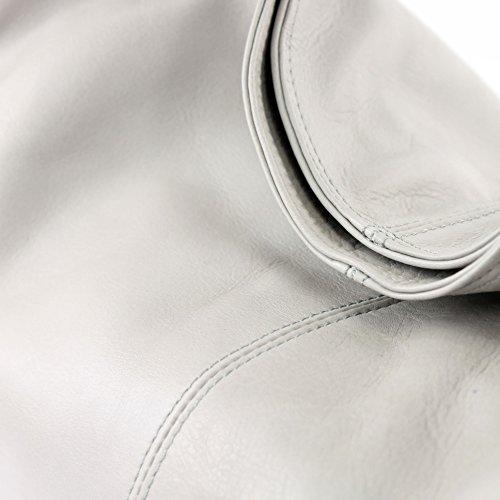 Made Italy - Bolso al hombro de cuero para mujer gris claro