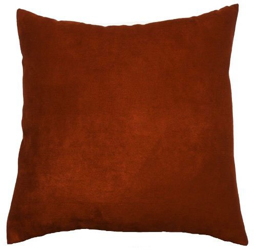 Cheap Faux Suede Throw Pillow Case Decorative Cushion Cover Zippered Euro Sham 22x22, Brick ...