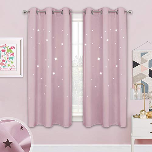 NICETOWN Children Window Darkening Curtains - Bedroom Star Cutouts Starry Night Magical Drape Panels for Girls' Princess Themed Rooms/Nursery Room (Lavender Pink=Baby Pink 42