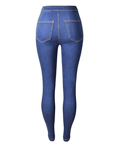 Jeans Denim Lavados Mujer Pantalon Pantalones Lápiz Azul Skinny Cintura Alta Flacos Oscuro Elástico Vaqueros qUUTC4nEw