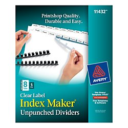 Avery Index Maker Unpunched Clear Label Dividers for Bound Documents, 8-Tab, White, 5 Sets (11432) Avery Index Maker White Dividers