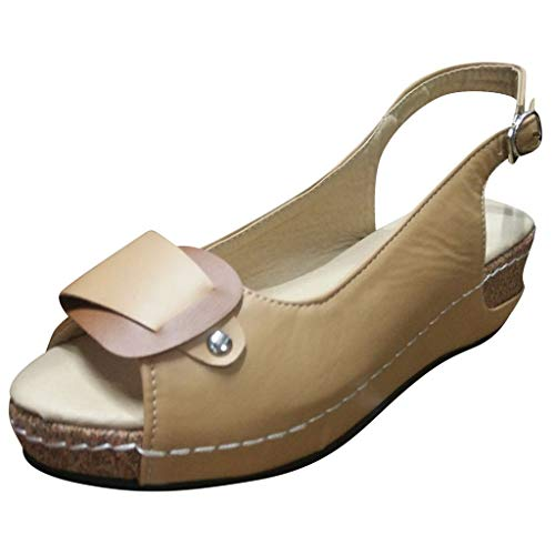 ONLY TOP Women's Peep Toe Hollow Out Slingback Platform Wedge Sandals - Bow University Pillow