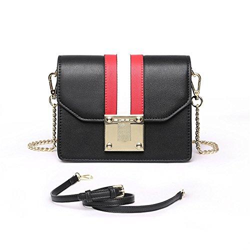 SJMMBB Nueva Cadena Bag Mini - Hombro Bolsa Bolso De Verano,Claret,19X15X9Cm. Negro