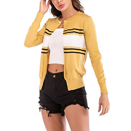 Solid Jersh Cozy Button Cardigan Women Women Temperament Outerwear yellow Coat Knit Coat Sweater Pearl D Beautiful Openwork Neckline Round r1qrI