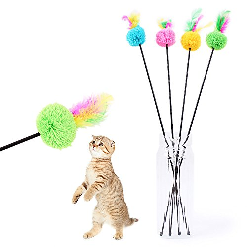 - JDgoods Colorful Feather Hairball Teaser Cat Toy, Fun Cat Dog Pet Feather Toy Wand with Bell Interactive Catcher Teaser for Kitten Or Cat Having Fun Exerciser Playing
