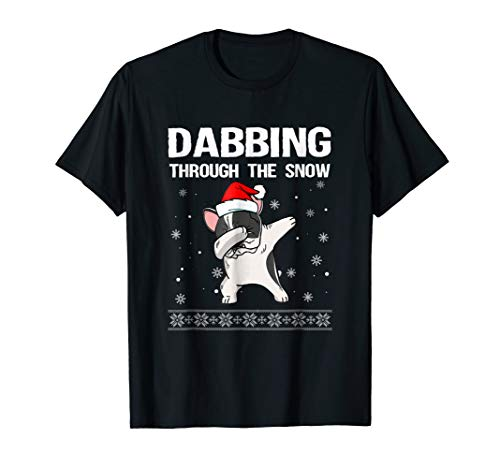 Bulldog Pied French (Dabbing Through The Snow Pied French Bulldog Dog Christmas T)
