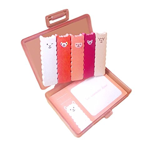 Cute Kawaii Japanese Office and School Supplies Sheep Alpaca Animal Post-it Bookmarks Index Tabs Sticky Flags Note Memo Pad - Portable Hard Plastic Case Holder Storage Box Stationery Set Japan Import