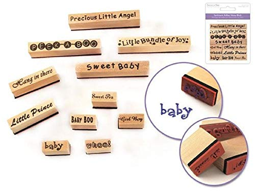 ShopForAllYou Stamping & Embossing Wooden Rubber Stamp Words Baby Announcement Set Bundle of Joy