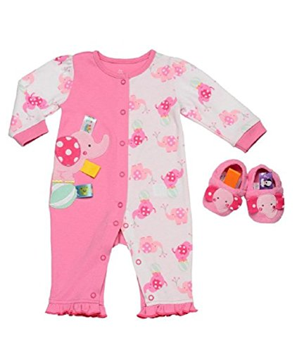 Taggies Baby Girl Pink L/S Elephant Playsuit with Matching Slippers (9 (Taggie Ball)