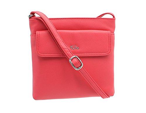 Tula NAPPA ORIGINALS Classic Zip Top Leather Shoulder / Cross Body Bag 8375 Black 2 Tulip