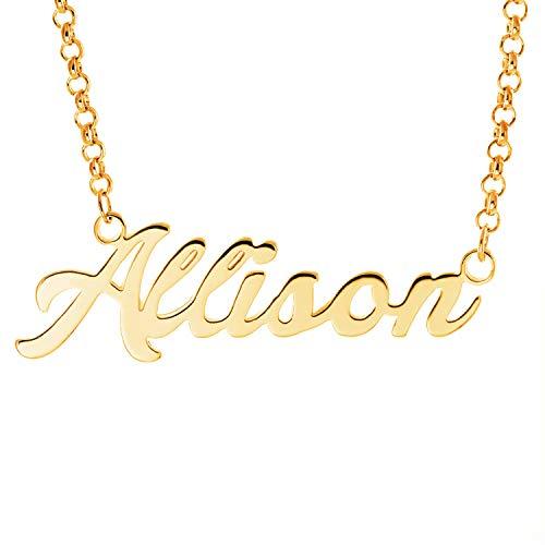 Personalized English Name Necklace Pendant Yellow Gold Plated